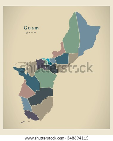 Modern Map - Guam with districts political colored GU