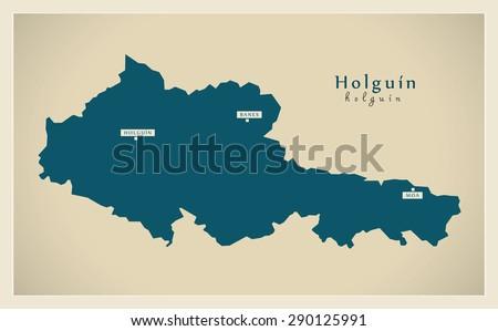 Modern Map Holguin Cu Stock Vector 290125991 Shutterstock