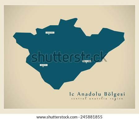 Modern Map - Ic Anadolu TR - stock vector