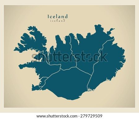 Modern Map - Iceland with regions IS - stock vector