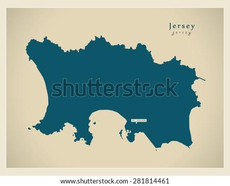 Modern Map - Jersey JE - stock vector