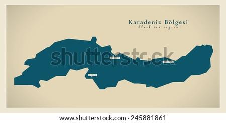 Modern Map - Karadeniz TR - stock vector