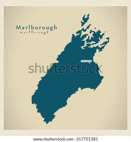 Modern Map - Marlborough NZ - stock vector