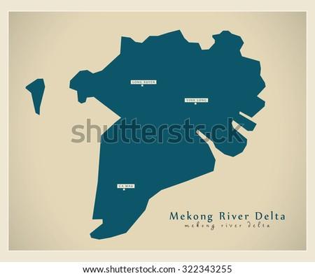 Modern Map - Mekong River Delta VN
