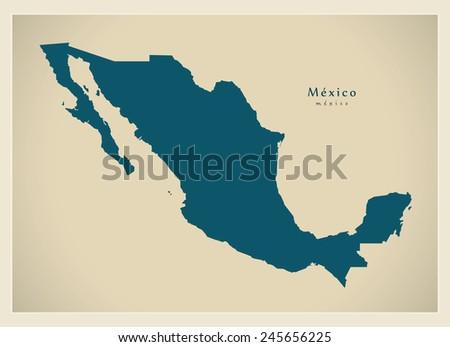 Modern Map - Mexico MX - stock vector