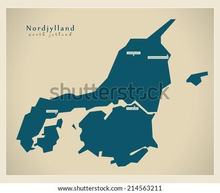 Modern map - Nordjylland DK - stock vector