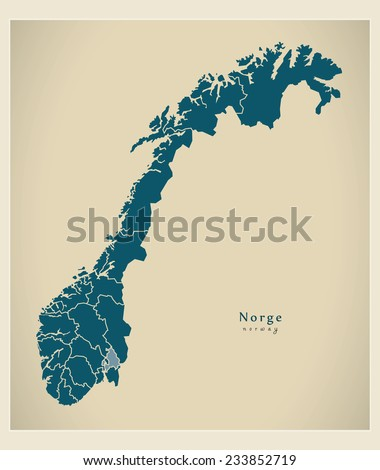 Modern Map - Norway with counties NO - stock vector