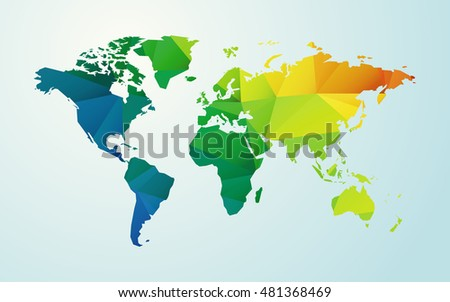 modern map of world color geometric shape background