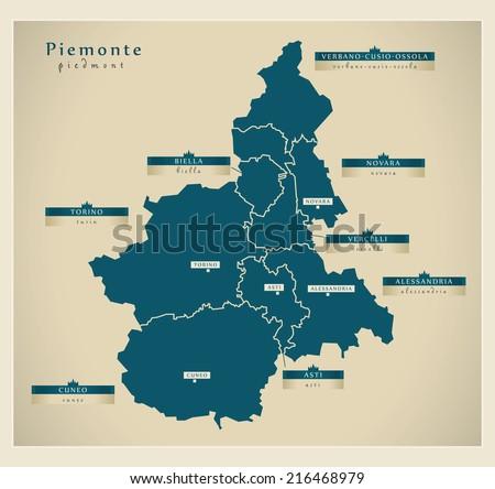 Modern map - Piemonte IT - stock vector