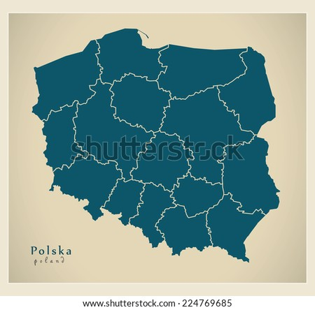 Modern Map - Polska with regions PL - stock vector