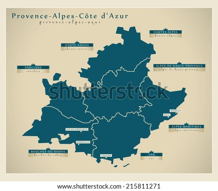 Modern map - Provence-alpes-azur FR - stock vector