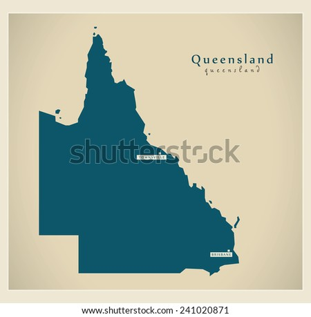 Modern Map - Queensland AU - stock vector