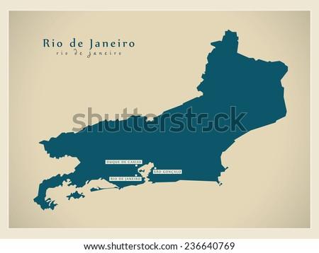 Modern Map - Rio de Janeiro BR - stock vector