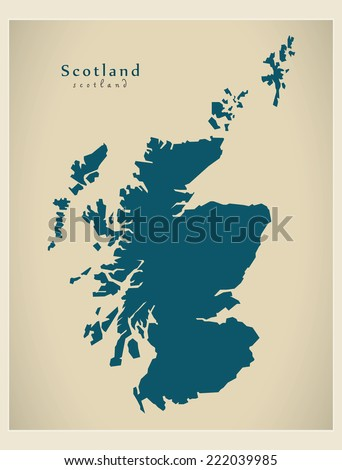 Modern Map - Scotland UK - stock vector