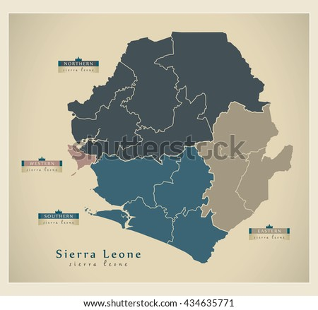 Modern Map - Sierra Leone provinces and districts detailed SL