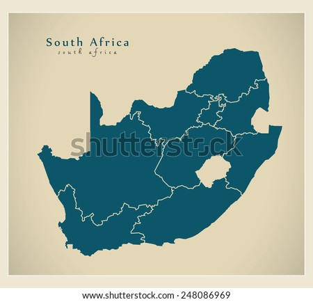 Modern Map - South Africa with provinces ZA - stock vector