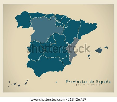 Modern map - Spain map with provinces ES - stock vector