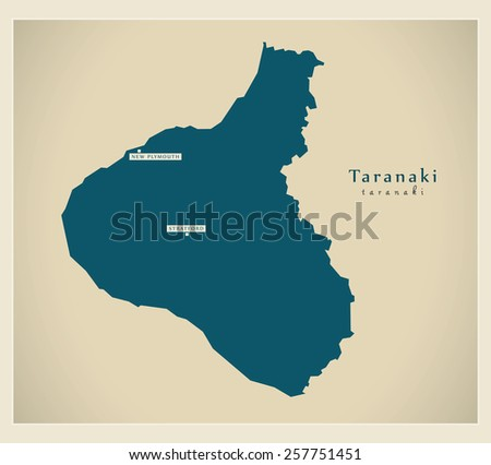 Modern Map - Taranaki NZ - stock vector