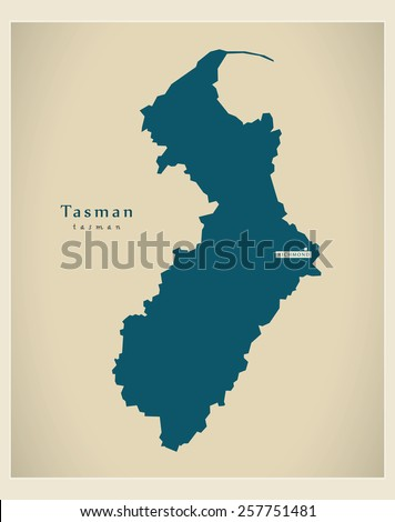 Modern Map - Tasman NZ - stock vector