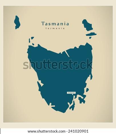 Modern Map - Tasmania AU - stock vector