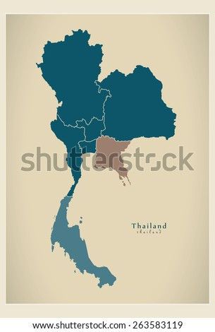 Modern Map - Thailand with regions TH - stock vector