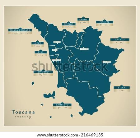 Modern map - Toscana IT - stock vector