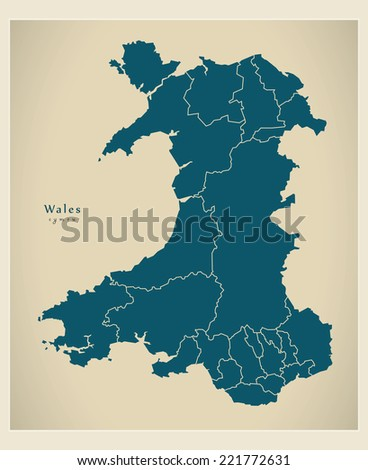 Modern Map - Wales with regions UK - stock vector