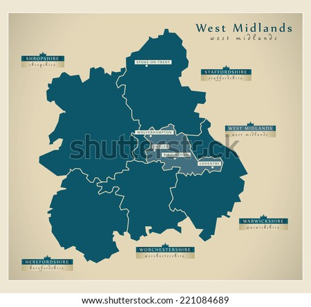 Modern Map - West Midlands UK - stock vector