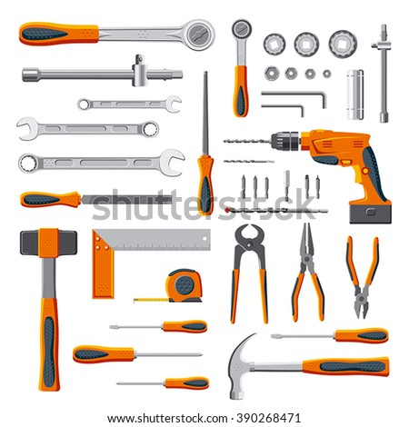 Modern mechanic DIY tools set collection on white background vector - stock vector
