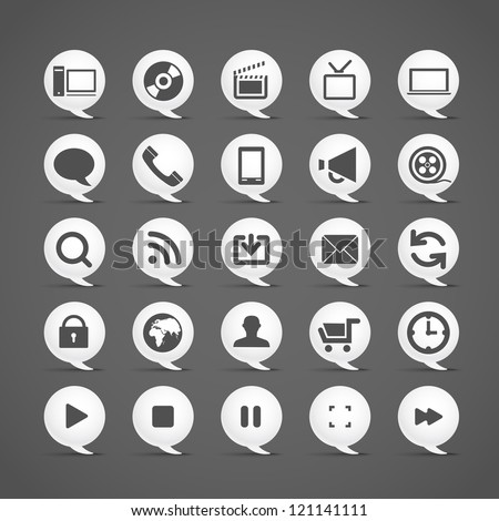 Modern media icons in clouds collection - stock vector