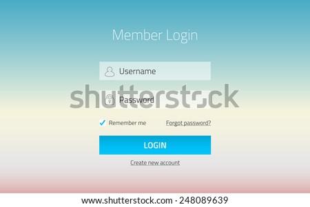 Modern member login website form with transparent effect - stock vector