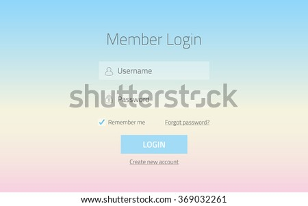 Modern member login website form with transparent effect and gradient colors baby blue and rose quartz - stock vector