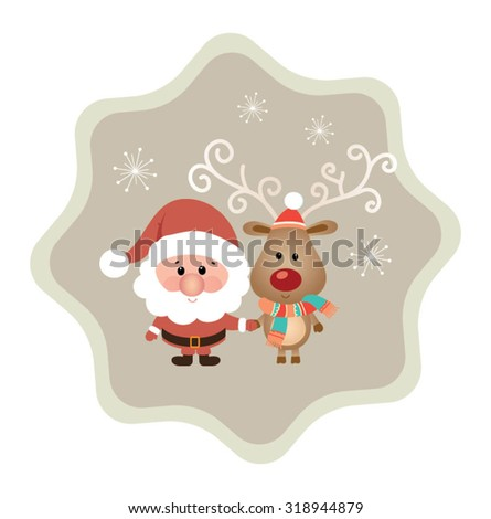 Modern Merry Christmas and  New Year greeting Card. Cute Christmas character - stock vector