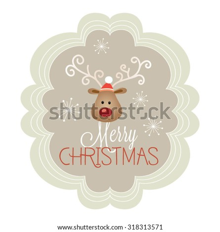 Modern Merry Christmas and  New Year greeting Card with Typography. Cute Christmas character