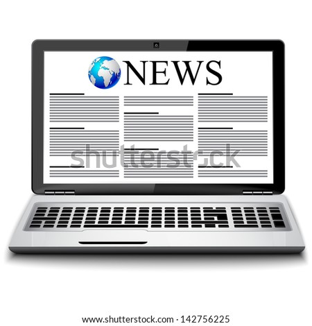 Modern metal glossy office laptop with business news - stock vector