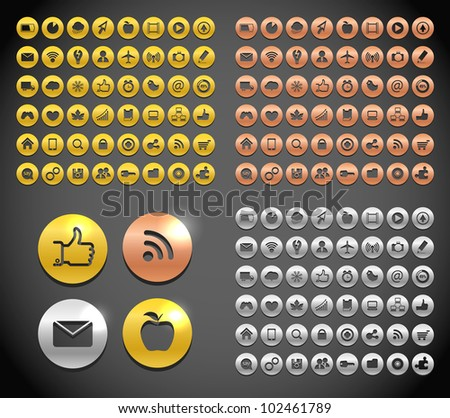 Modern metallic social media icons collection - stock vector