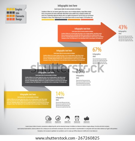 Modern minimal arrow infographic. EPS10 vector . Can be used for workflow layout, diagram, number and step up options, web design. - stock vector