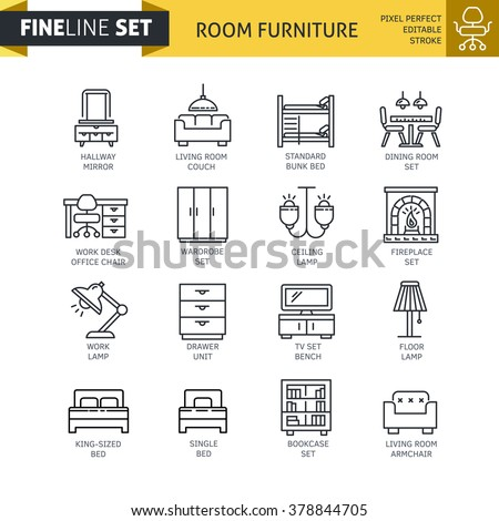 Modern minimal flat thin line room furniture icon set. Living room, dining room, bed room, home interior design vector concept. For mobile app, web, banner, poster, flyer - stock vector