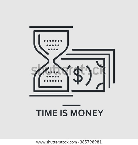 Modern minimal flat thin line time is money concept vector illustration. Time management, hourglass, finance banner template. For mobile app, web, banner, poster, flyer, header, blog post. - stock vector