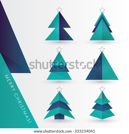 Modern minimal geometric Christmas pine tree paper cutouts vector illustration set in dark blue and turquoise color combinations - stock vector