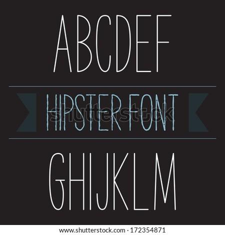 Modern minimal hipster font alphabet; Sans-serif elegant light font, vector alphabet letters design.  Regular, normal version - stock vector