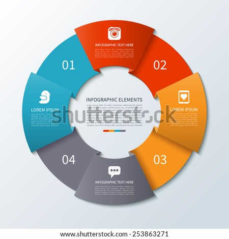 Modern minimal infographics circle. Origami style. Vector illustration. Can be used for workflow layout, brochure, diagram, chart, number and step up options, web design - stock vector