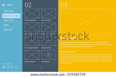 Modern minimalistic typography website layout based on golden ratio grid, flat design style & flat colors.  - stock vector