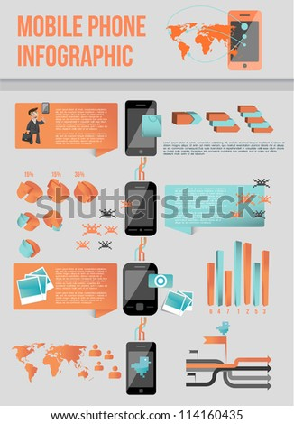 Modern mobile phone infographic - stock vector