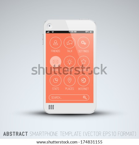 Modern mobile phone template with flat user interface (UI) - stock vector