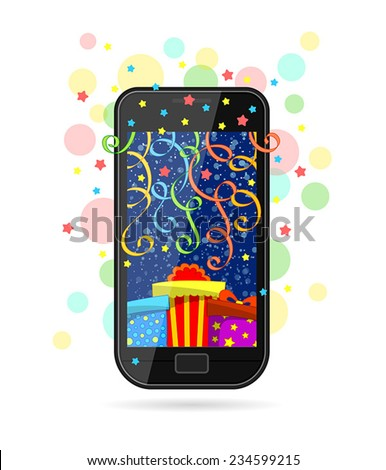 Modern mobile phone with picture of gifts on screen, colorful ribbons and stars - stock vector