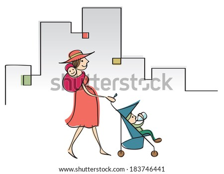 Modern mom with two little children in a wrap and in a stroller - stock vector