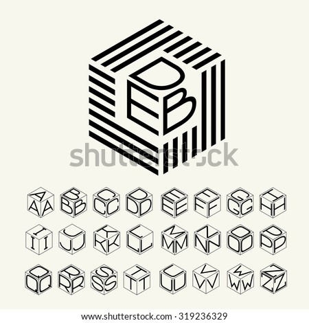 Modern monogram cube, hexagon of the strips, and three letters inscribed. Plus a set of letters to create the logo. - stock vector