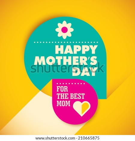 Modern mother's day card design. Vector illustration. - stock vector