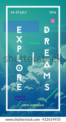 Modern motivational poster template with clouds. Trendy typographic and design elements. Vector illustration - stock vector